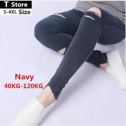 2018  Summer Style White Hole Ripped Jeans Women eggings Cool Denim High Waist Pants Capris Female Skinny Black Casual Pants