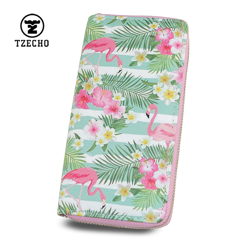TZECHO Wallets for Women With Phone PU Long Zipper Floral Print Flamingo Turtle leaves Ladies Clutch Purses Credit Cards Holder tzecho women wallets long zipper wallet for women with phone pu walet skull head ladies clutch purses rfid credit cards holder