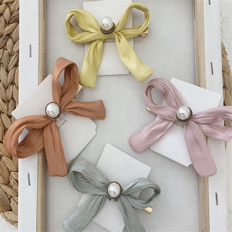 Wild Big Large Fashion Satin Bow Women Girls Hair Band Trendy Hair pin Casual letter Hair Clip Cute Ribbon Bow Headwear Ladies in Hair Clips Pins from Beauty Health