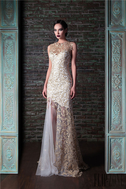 Elegant White And Gold Lace Mermaid Evening Dress 2016 Custom Y Long Formal Dresses Wedding Guest