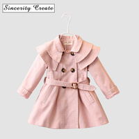 Fashion Baby Girls   Trench   Coat Spring jackets Outwear With Belt For Girls Multilayer turn-down collar girls   Trench   Coats KC-1558