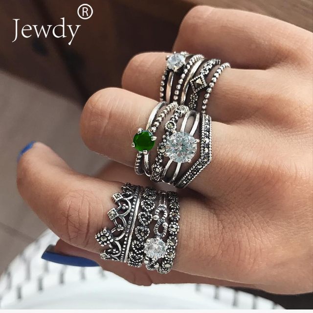 Mixed Vintage Crown Crystal Boho Jewelry Unique Carving Tibetan Silver Rings Set for Woman Wedding Party  Luxury Ring Sets 2019