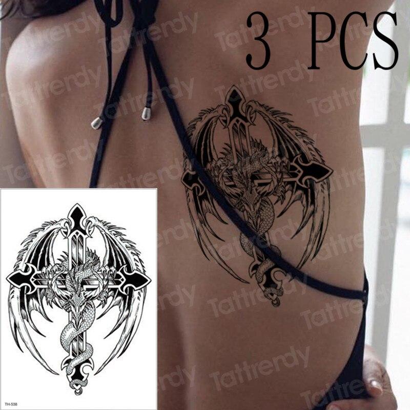 3pcs/lot Flying Dragon Wings Winding Cross Temporary Tattoo Sticker Women Back Body Arm Sleeve Tattoos Mandala Gothic Tattoo New
