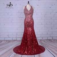 Mermaid Prom Jurken 2017 Rode Kristallen Graduation Jurken Lange Avondjurken Elegante Backless Rhinestone Avondjurken