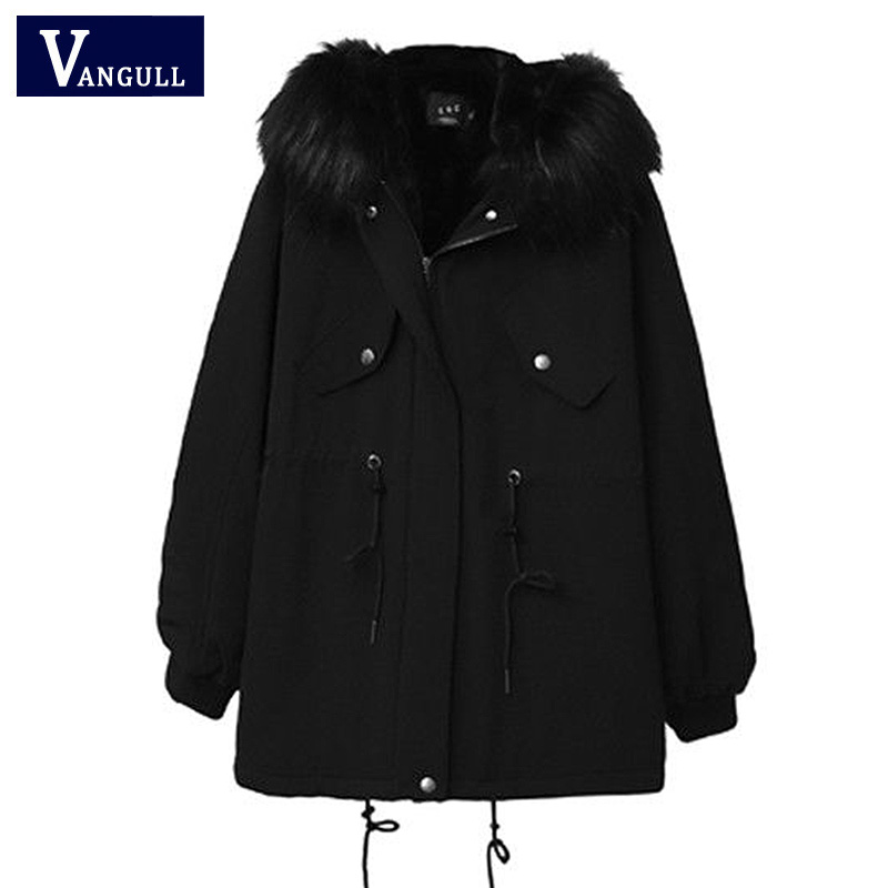 Vangull Winter Women   Parkas   Solid Thick Warm Cotton Coat Female New Hooded Jacket 2019 Big Fur Collar Plus Size Loose Outerwear