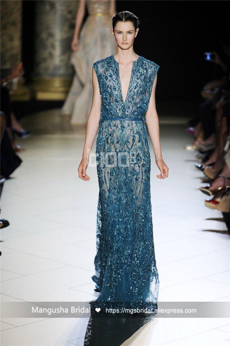 2017 Elie Saab Vestido de Noche de Diseño de Lujo Rebordear Sin ...