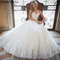 Najowpjg 2016 New Arrive Elegant O-Neck Ivory Wedding Dress Summer Delicate Appliques Vestido Luxury Crystal Ball Gown Plus Size