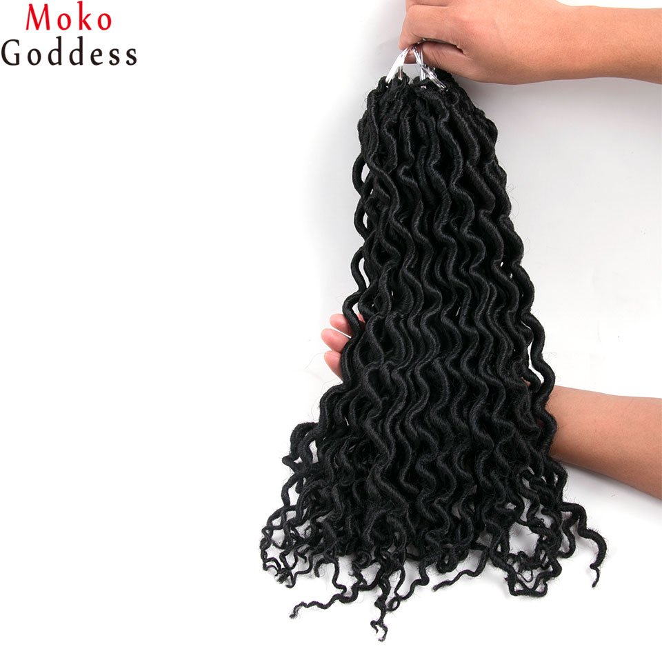 MoKoGoddess Faux Locs Curly Braid Hair 16 Inch 24stands/pack Synthetic Braiding Hair Crochet Braids Hair Extensions