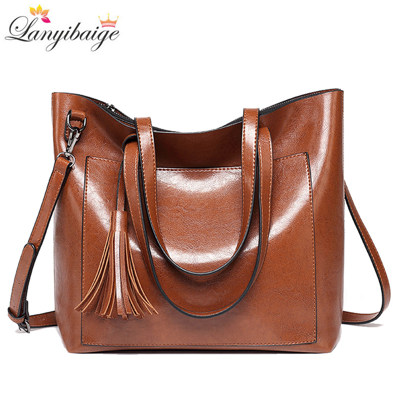 New Women Handbags 2018 Women Bags Designer Female Tassel Crossbody Bag Luxurious Leather Lady Shoulder Bag Big Tote Brown S