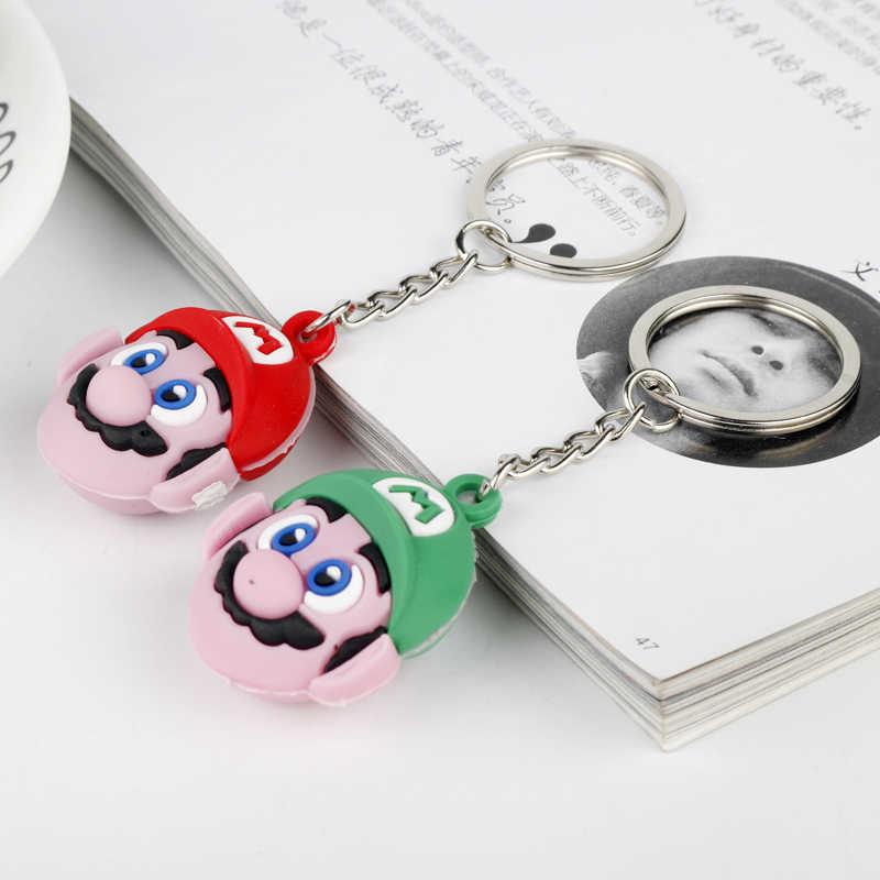 لعبة أنيمي المفاتيح سوبر ماريو بروس المفاتيح حلقة رئيسية لطيف للنساء 3D PVC ماريو مفتاح سلسلة مفتاح حامل chaveiro llaveros-50