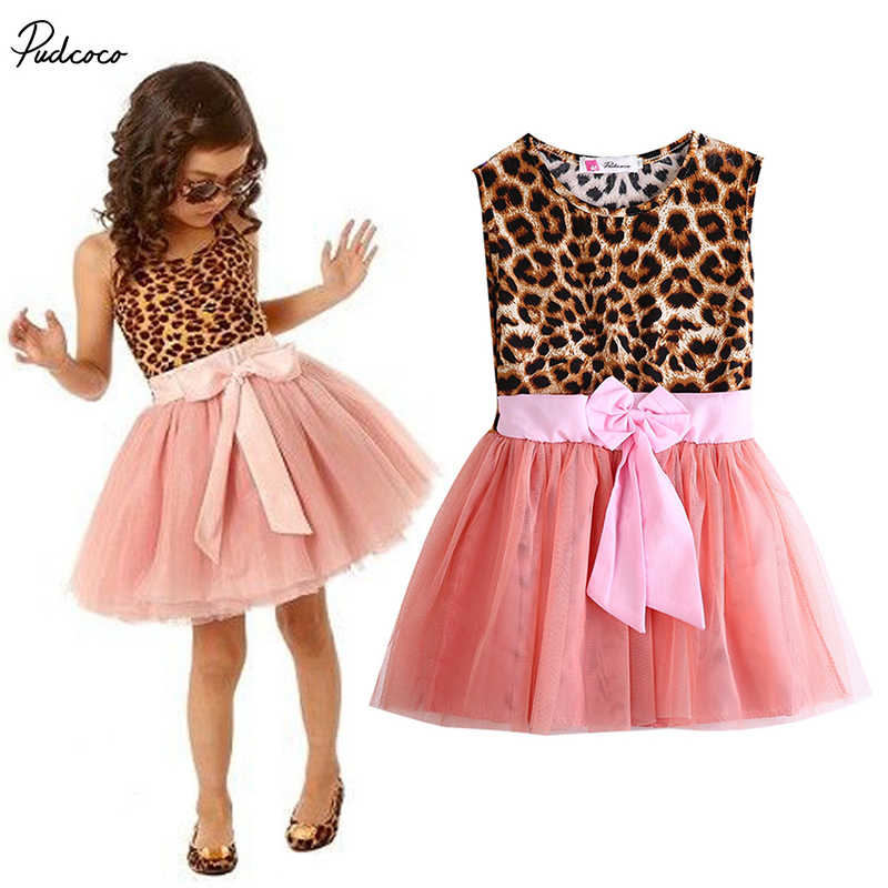 2017 hot Kids Baby Girls summer Clothes Ruffle Leopard Shirt Tulle Tutu Party Dress