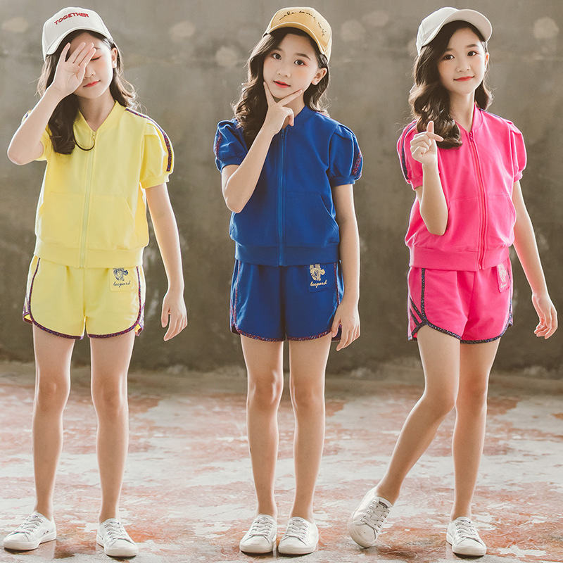 Kids Sport Suits Girls Clothing Sets New Fashion Children Zipper Tee 2pcs Set 3-16Yrs Girls Teens Hoodie Shirt Tops Pants CA944