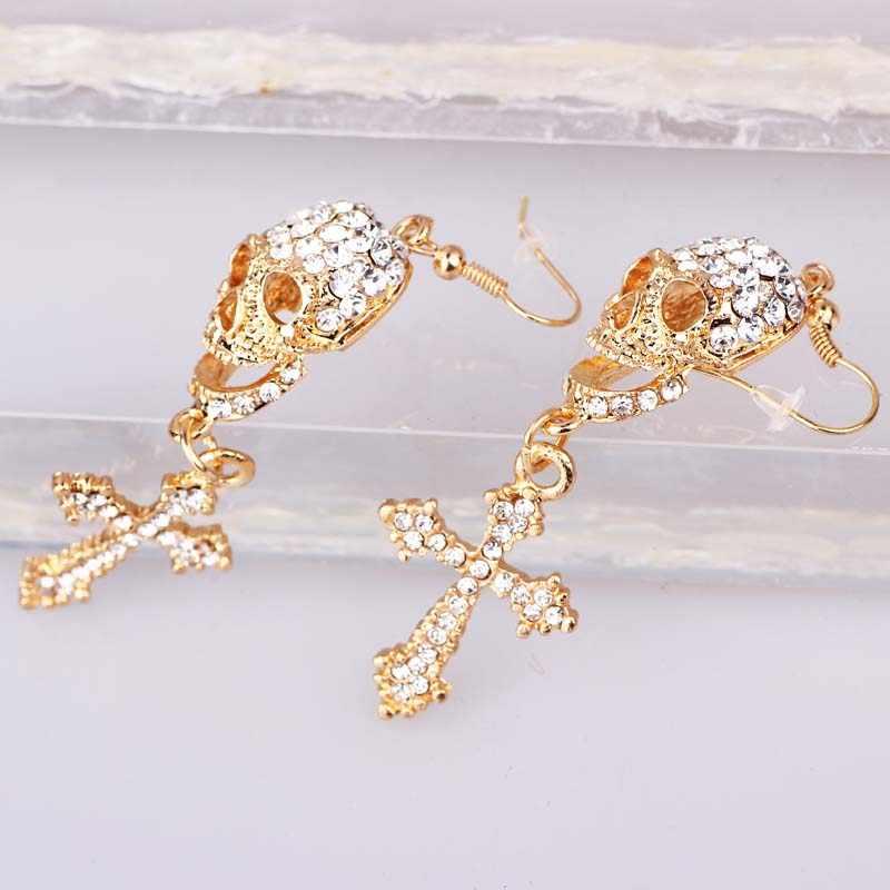 Wanita Fashion Perhiasan Tengkorak Lintas Gaya Anting-Anting Buatan Tangan Rhinestone DROP Crystal Menjuntai Anting-Anting Panjang untuk Wanita