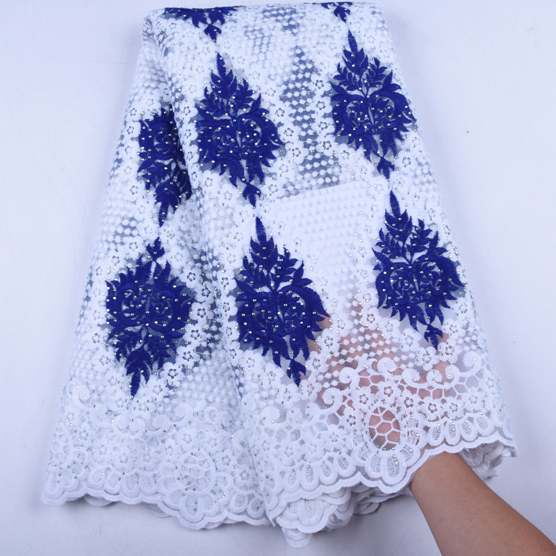 2019 Milk Tulle African Lace Fabric New Nigerian Embroidered Laces With Stones High Quality French Lace