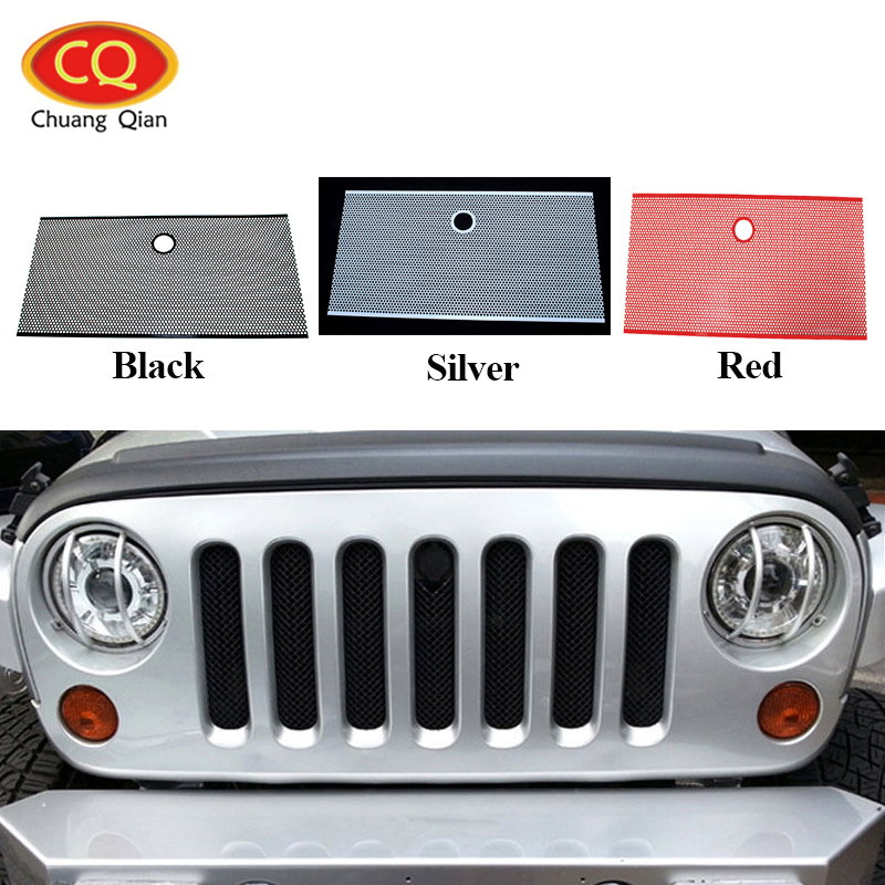 Chuang Qian Accessories Racing Grills Front Flat Grill Stainless Steel Bug Screen Shiled Grille For Jeep Wrangler JK 2007-2017 racing grills version aluminum alloy car styling refit grille air intake grid radiator grill for kla k5 2012 14