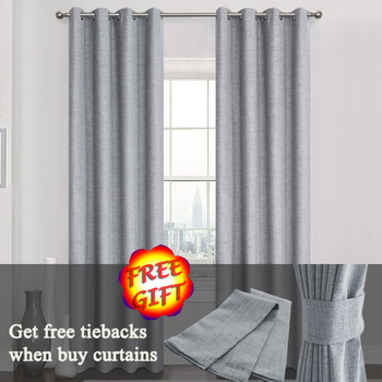 Luxury Linen 100% Blackout Curtains For Living Room Kitchen Bedroom Window, Solid Water-Proof Blackout Curtains