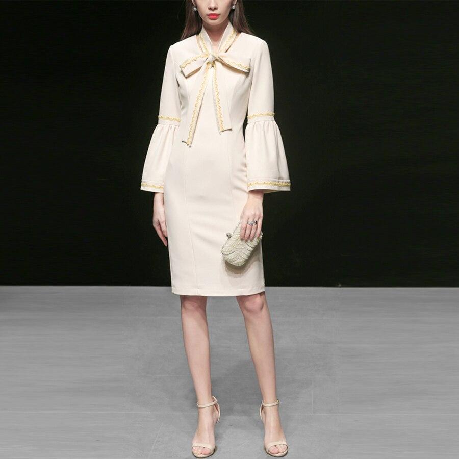 Russie Palais V Beige Dame cou Mode Genou Robe De dessus Roosarosee Printemps Sexy Élégant 2019 Du Douille Rouge Nouvelle Designer Fusée nREI1