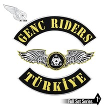 GENC RIDERS TURKIYE Custom motorcycle biker vest patch punk Iron on Embroidery patches free shipping new arrival mc aces eights jersey embroidery patch motorcycle club vest outlaw biker jacket iron on patch free shipping