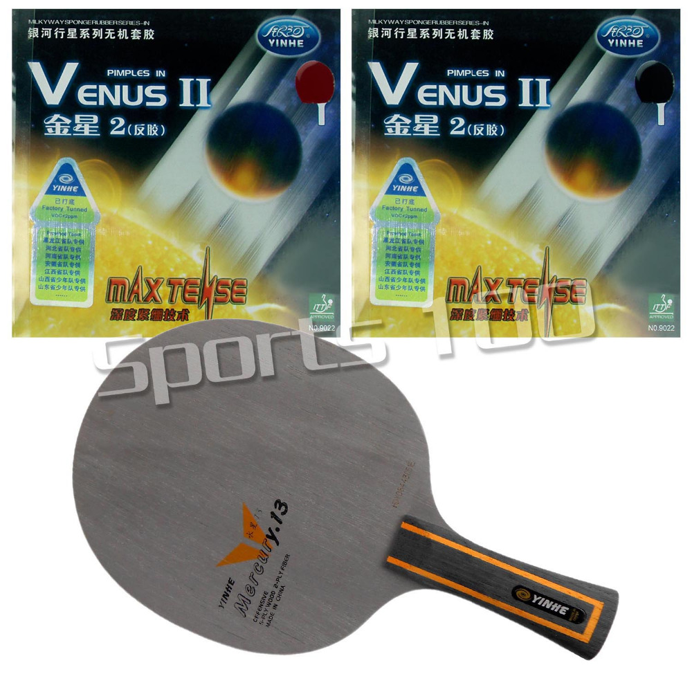 Pro Table Tennis Combo Paddle Racket Galaxy Yinhe Mercury.13 Blade Long Shakehand-FL with 2x Venus II Rubbers