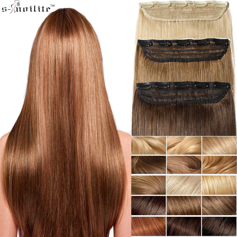 Hot Sale Snoilite 24inch Synthetic Hair Piece Long Straight Clip In
