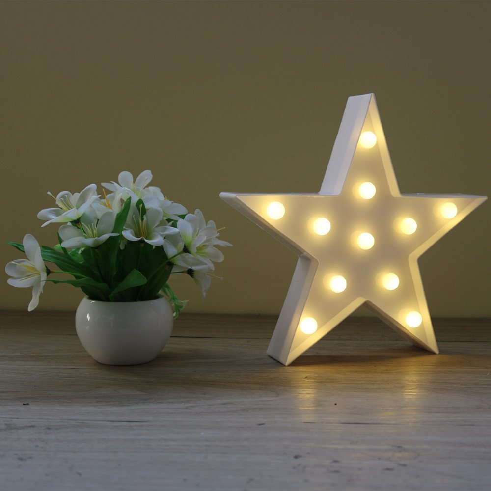 Adeeing Star Shape Letters Light LED Plastic Marquee Light Funciona - Luces nocturnas