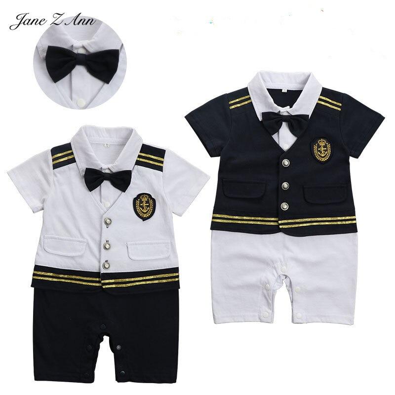 цена на Jane Z Ann Baby boy captain pilot  jumpsuit 2 types infant toddler short sleeve sailor navy halloween costume baby onesie