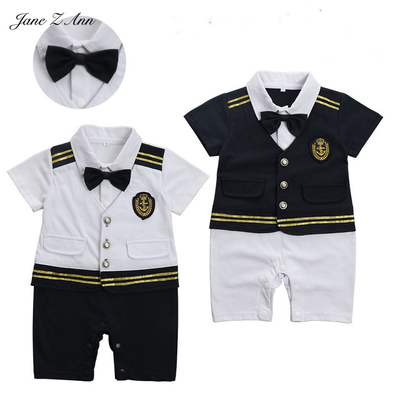 Jane Z Ann Baby boy captain pilot marine jumpsuit s infant toddler short sleeve sailor navy summer clothes costume baby onesie