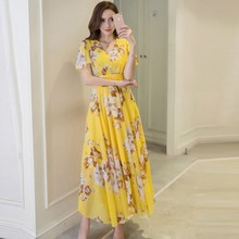 2018 New fashion women spring summer dress Bohemian style sexy beach holiday dresses chiffon print Korean high waist clothing(China)