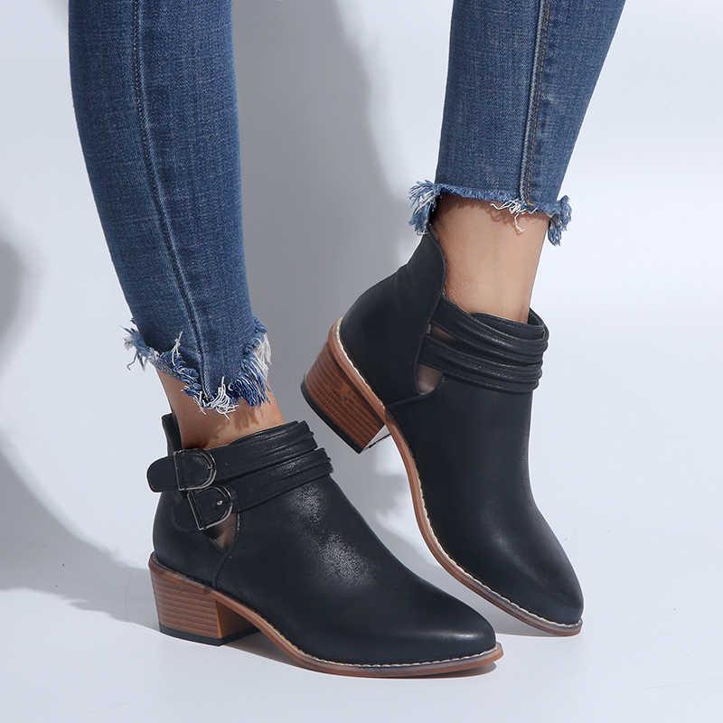 COSIDRAM Yeni 2018 Kış Kadın PU Deri Çizmeler Med Topuk Sivri Burun Ayakkabı Nefes Kadın Toka yarım çizmeler SNE-164