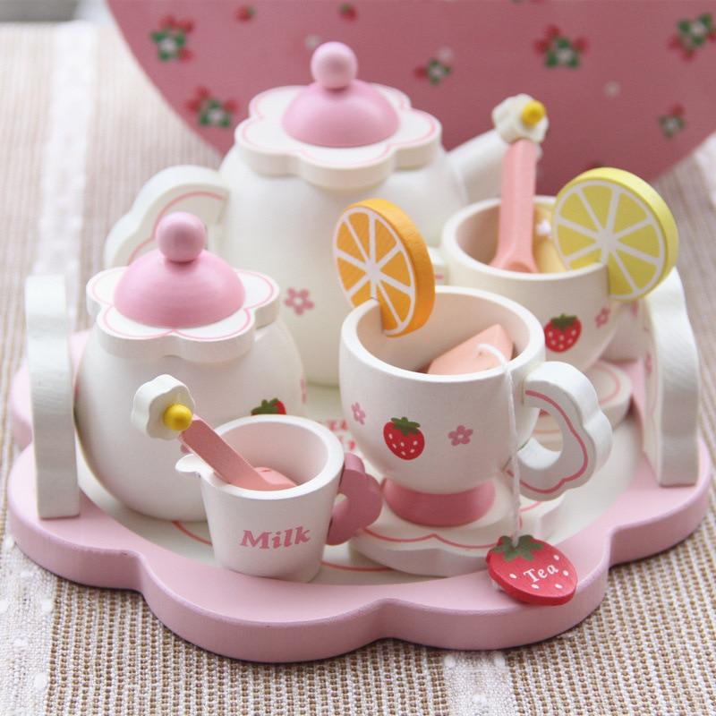 Simulation en bois ensemble de thé rond en bois motif de fraise après-midi jouets de thé enfants éducation précoce simulation cuisine jouets