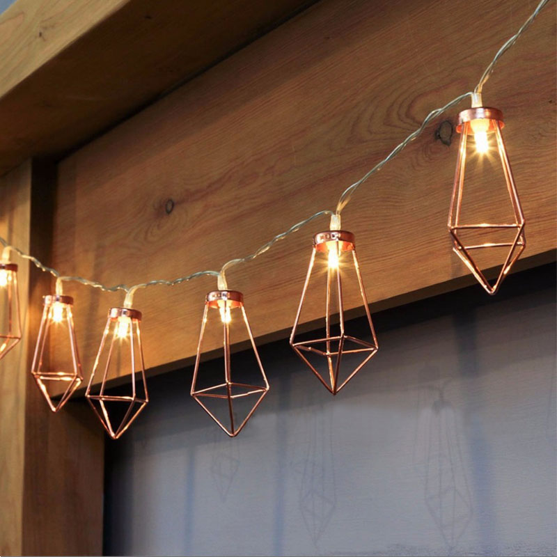 Retro Iron Metal Diamond LED Fairy String Lights Battery Xmas Holiday Wedding Party Home Decoration 10Leds Lantern String Lamps