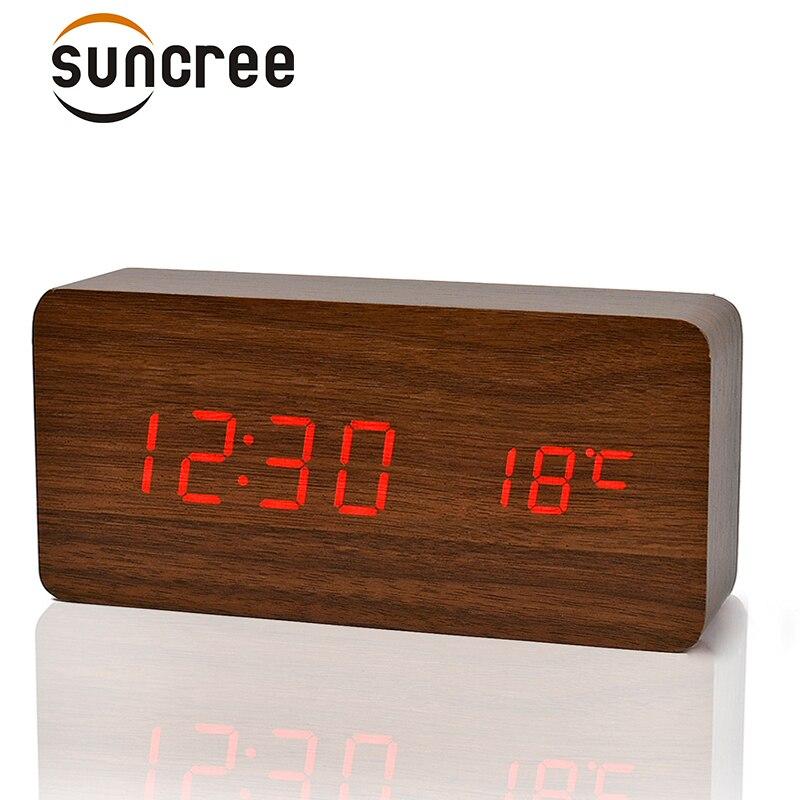 Suncree Antiken stil Schwarz weiß Nacht Leuchtende holz uhr Kurze Kunst Uhr Temp + datum + zeit reloj despertador für office home