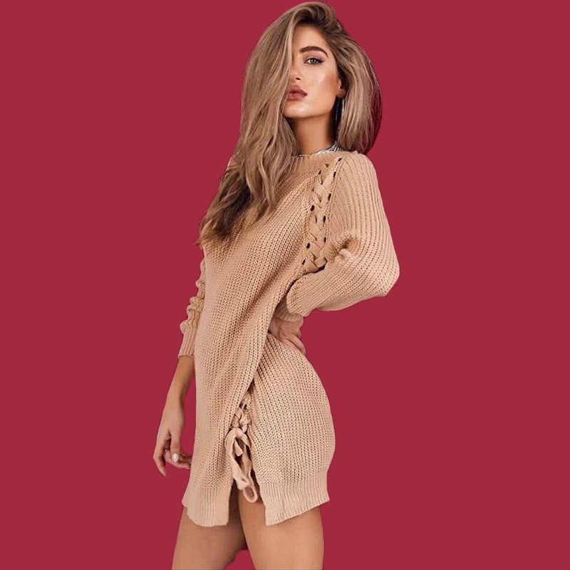 Hot Sale New Arrival Women Fashion Sexy Split Knitted Mini Dress Autumn and Winter Female Loose Lace-up Bandage Sweater Dresses adidas original new arrival official neo women s knitted pants breathable elatstic waist sportswear bs4904