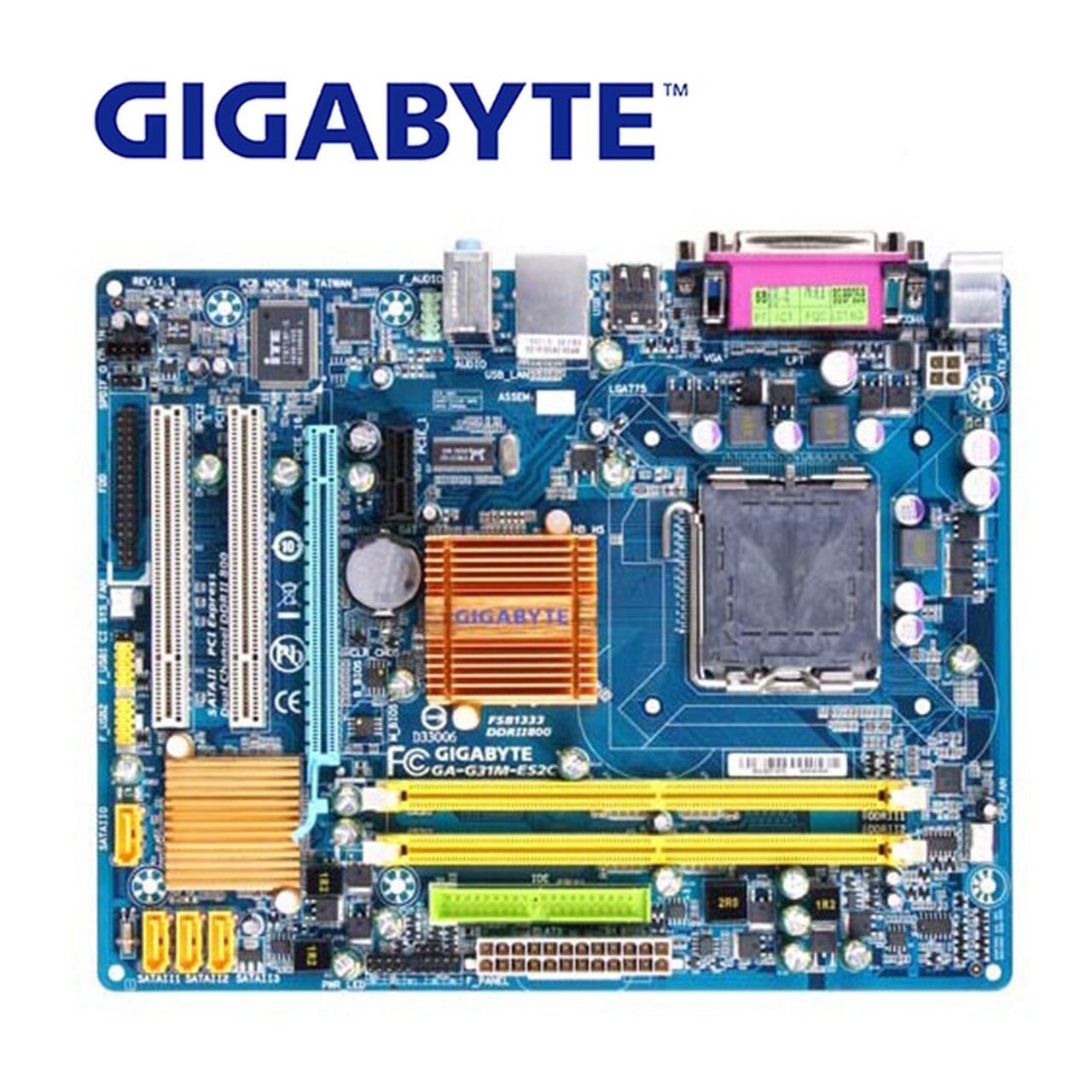 LGA 775 DDR2 Pour Intel Gigabyte GA-G31M-ES2C 100% D'origine Carte Mère 4G G31 G31M-ES2C De Bureau Carte Mère Systemboard Utilisé