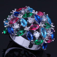 Candy Multigem Multicolor Red Cubic Zirconia 925 Sterling Silver Ring For Women V0496