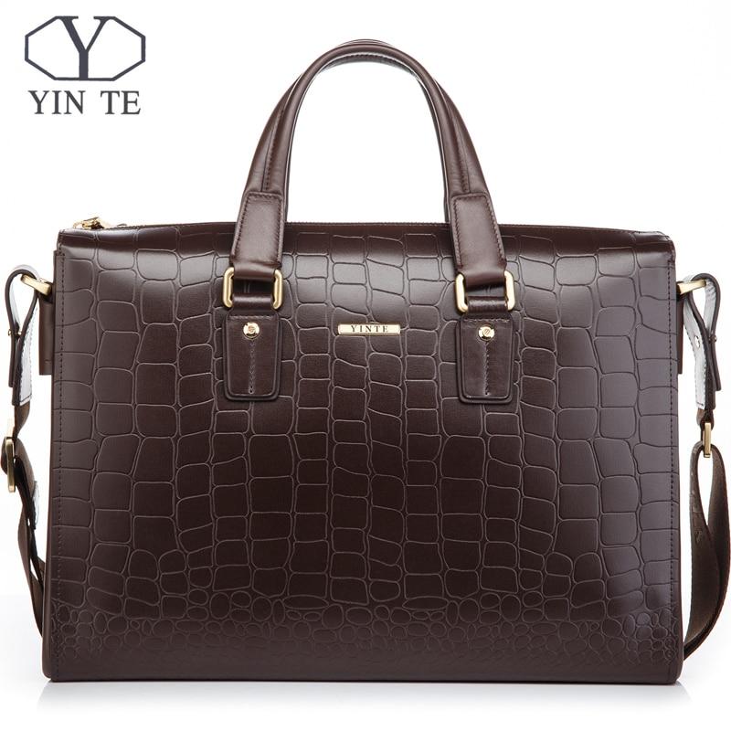 YINTE porte-documents en cuir pour hommes sacs à main marron mode sacs à main pour hommes sacs d'affaires pour hommes sac à bandoulière portefeuille T8245-5