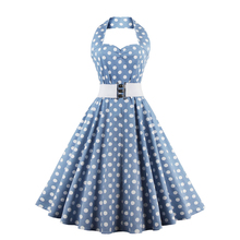 Women Cotton Vintage Halter Dress 50s Dot Print Spring and Autumn Casual Party Renaissance Rockabilly Swing Female Dresses