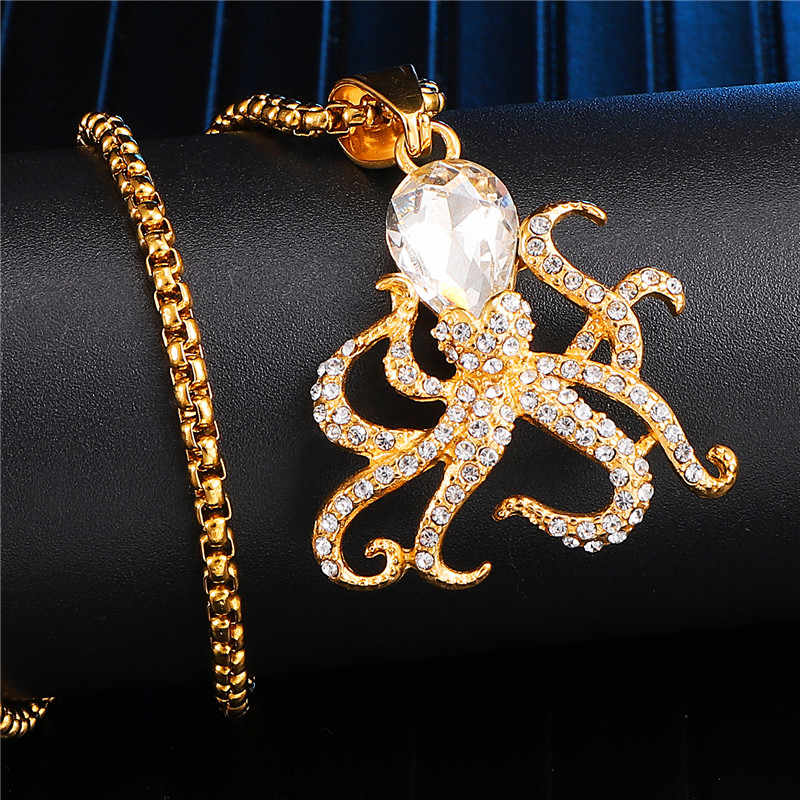 Personality Bling Iced Out Rhinestone Octopus Necklace Men Stainless Steel Pendant For Male Street Hip Hop Jewelry