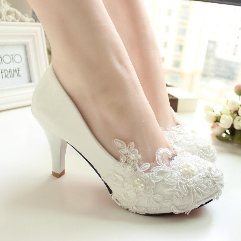 ФОТО Women Pumps Wedding Shoes large size 41-52 Handmade lace  White Bridal Shoes Bridesmaid Shoes banquet dress Shoes  8.5cm Heel