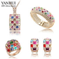 Limited Edition!!! YANHUI Luxury Princess Gold Color Wedding Jewelry Bridal Sets Nice Crystal Bijoux Sets 4PCS/Sets YS054