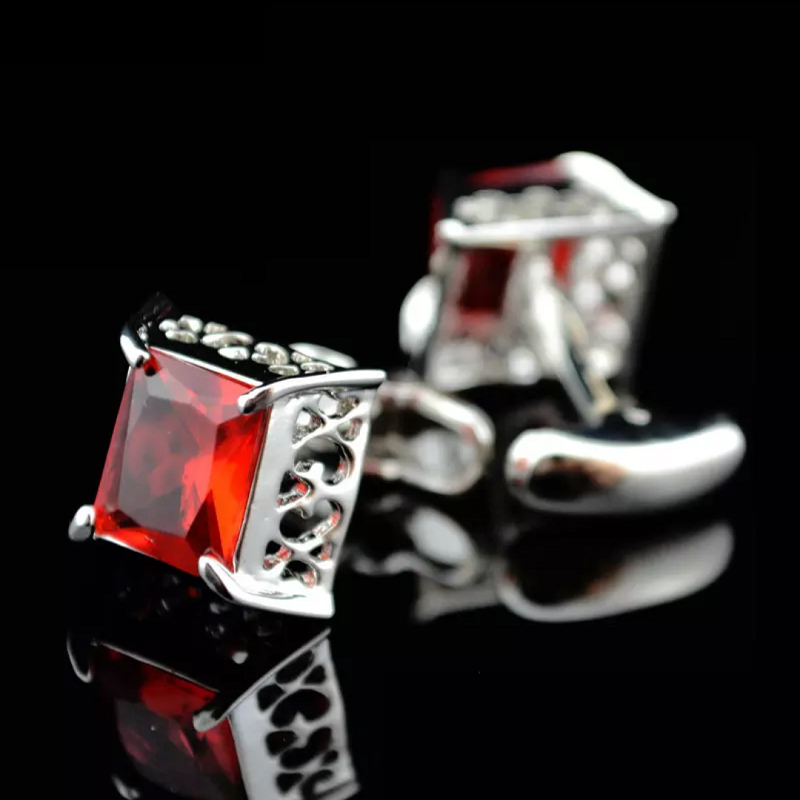Bridegroom Wedding Evening Party Business Men Cufflinks French Shirts Hollow Out Cuff Links Red Crystal Cufflink With Gift Bag