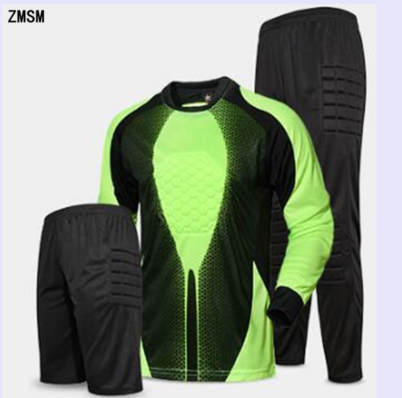 ZMSM Long Soccer Goalkeeper Uniform Mens Soccer Jerseys kit Mesh Sponge protection Football Goalkeeper Doorkeepers Training Suit цена