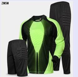 ZMSM Long Soccer Goalkeeper Uniform Mens Soccer Jerseys kit Mesh Sponge protection Football Goalkeeper Doorkeepers Training Suit