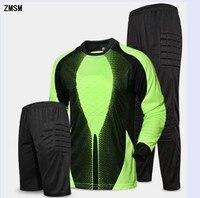 ZMSM Long Soccer Goalkeeper Uniform Mens Soccer Jerseys Kit Mesh Sponge Protection Football Goalkeeper Doorkeepers Training