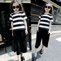 Summer Girls Sets Striped Black Girls Outfits Cool Girl Clothing Set Ensemble Fille Fashion Girl Set Clothes