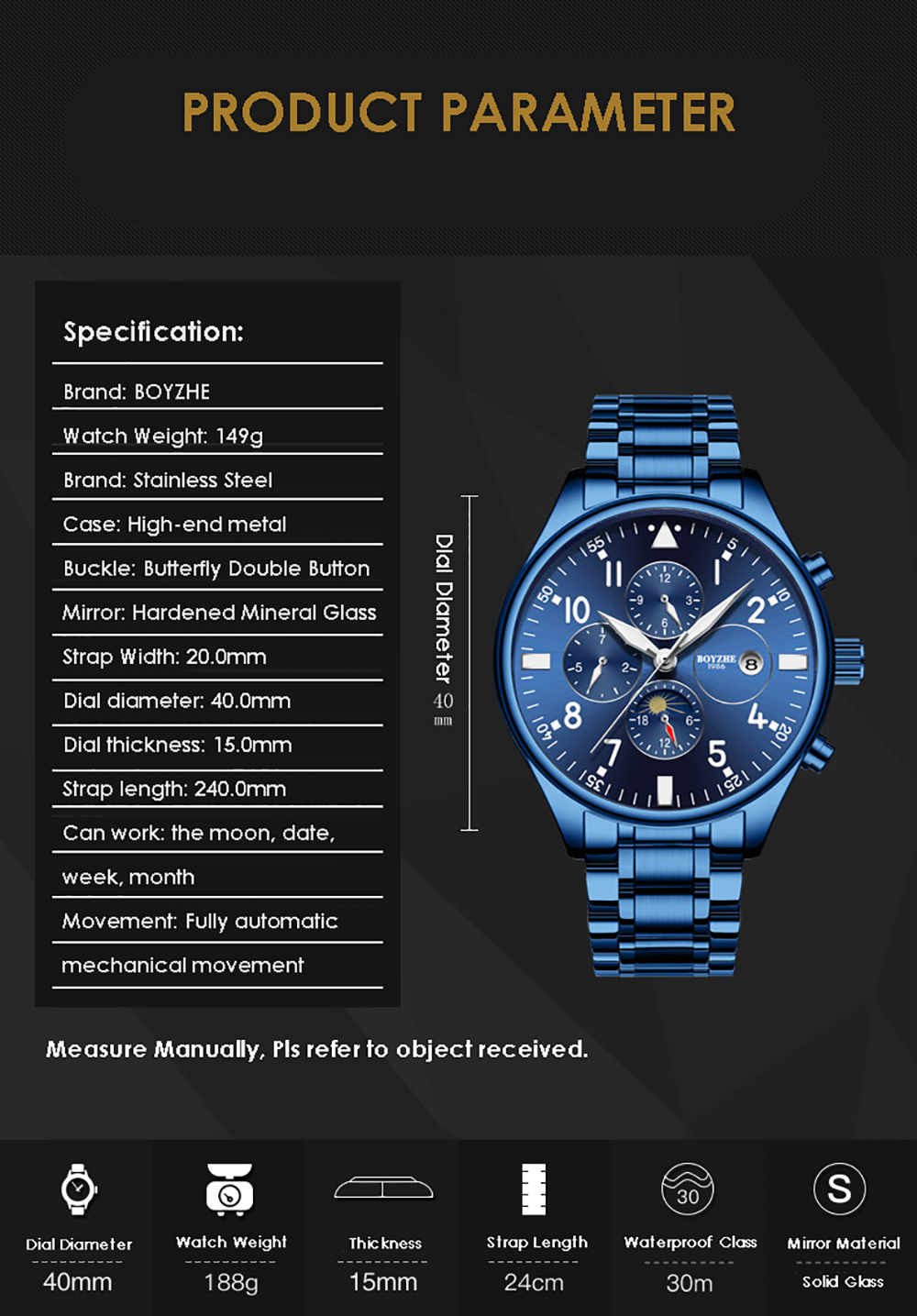 BOYZHE  Watch Brand Luminous Waterproof Business Full-automatic Mechanical Men Stainless Steel Wrist Watch  men watches