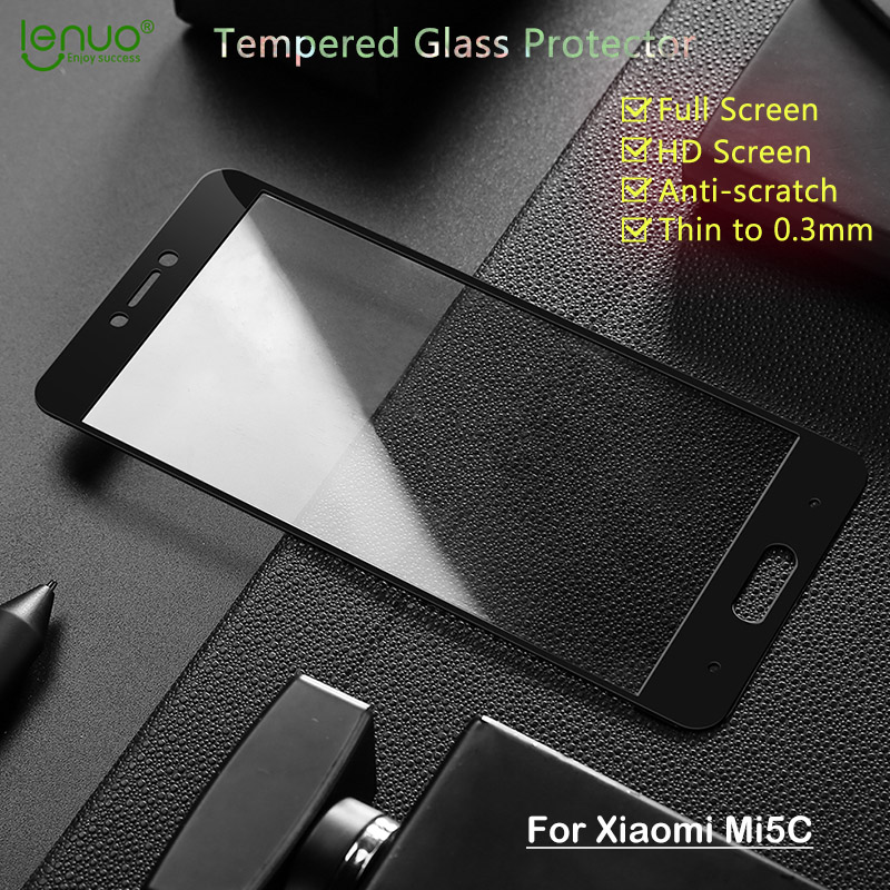 Full Screen Tempered Glass Film for Xiaomi Mi5c Screen Protector Lenuo Soft Edge Full Cover for