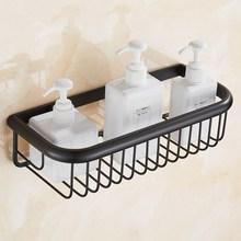 30cm Black Oil Rubbed Bronze Shower Basket Bath Soap Shampoo Storage Holder Wall Mounted Bathroom Shelf