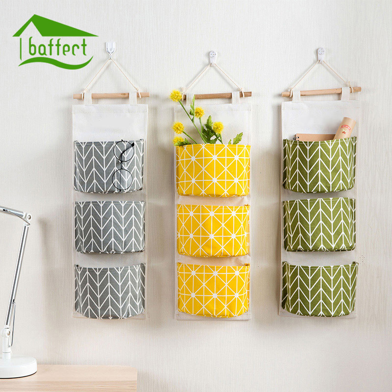 3pcs cotton fabric wall hanging storage bag for organizer sundry storage pocket for decoration kitchen bathroom