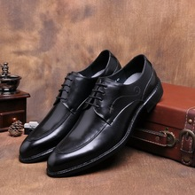 QYFCIOUFU Handmade Men Dress Genuine Leather Formal Business Men Oxfords Shoes Designer Men's Flats For Party Wedding Shoe